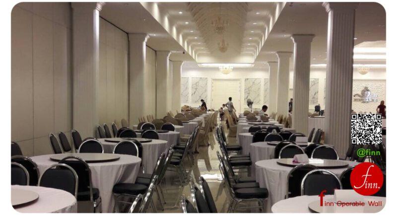 ผนังเลื่อนกันเสียง finn ใช้เป็นผนังกั้นห้องประชุม ห้องจัดเลี้ยง ของโรงแรม